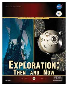 Cover of the Exploration: Then and Now Educator Guide with pictures of a ship and future spacecraft and the words Exploration: Then and Now