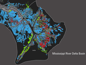 A Landsat derived map of Mississippi River Delta land area change. Red represents land lost between 2004 and 2005.