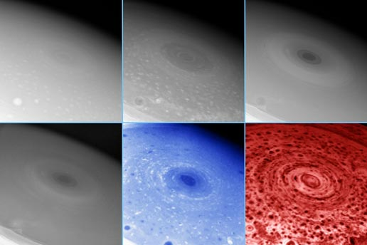 NASA Probe Gets CloseUp Views of Large Hurricane on Saturn