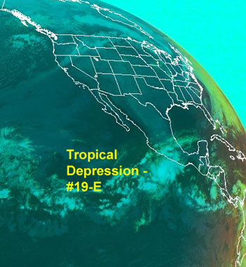 Image of Tropical Depression 19 which formed in the Eastern Pacific as seen by GOES.