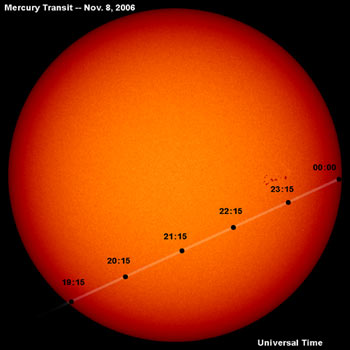 Image of the Mercury transit seen by SOHO