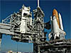 Space Shuttle Discovery sits on Launch Pad 39B after the 4.2-mile rollout from the Vehicle Assembly Building