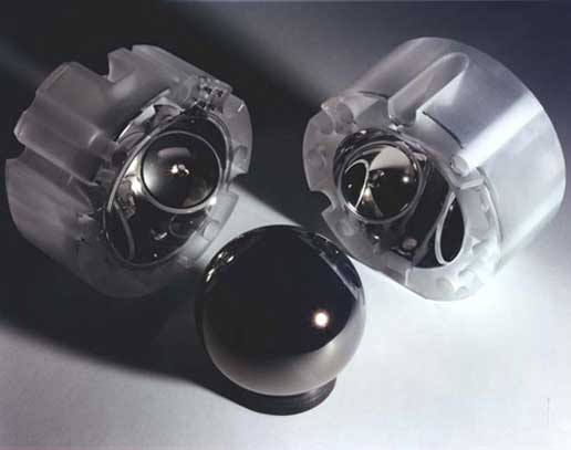 Image of a coated gyroscope rotor and matching housings from the Gravity Probe B experiment
