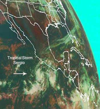 GOES image of Tropical Storm Sergio