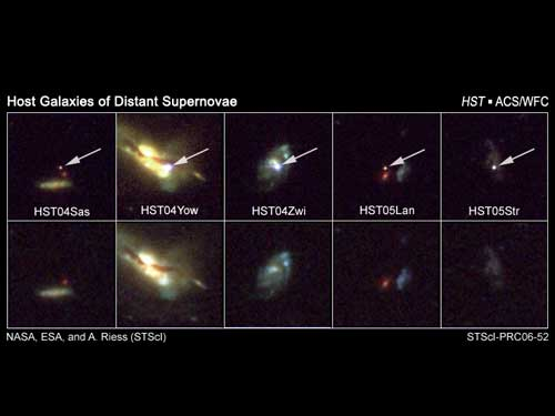 These snapshots, taken by NASA's Hubble Space Telescope, reveal five supernovae, or exploding stars, and their host galaxies.