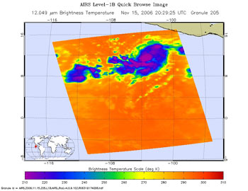 This is an infrared image of Hurricane Sergio in the Eastern Pacific from the Atmospheric Infrared Sounder on NASA's Aqua satellite on Nov. 16, 12:29 p.m. PST.