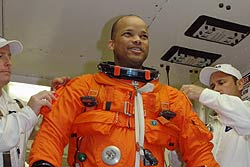 Mission Specialist Robert Curbeam in the White Room.