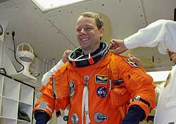 Mission Specialist Christer Fuglesang in the White Room.