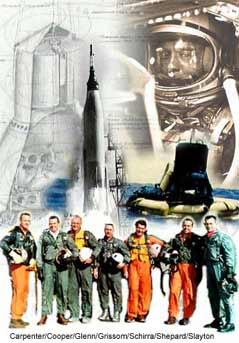 Collage image of Mercury astronauts, rockets and spacecraft.