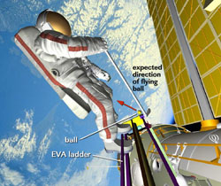 Artist's rendering of golf task during Expedition 14 EVA