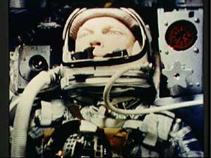 Astronaut John Glenn during the Friendship 7 space flight.