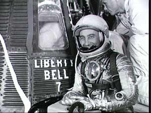 Astronaut Gus Grissom suited up and ready to climb into the Liberty Bell 7 spacecraft.