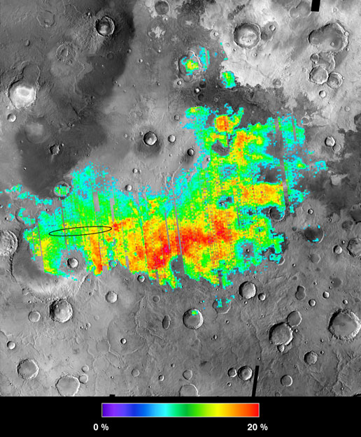 The iron mineral hematite lies on the surface of parts of the Meridiani Planum region of Mars.