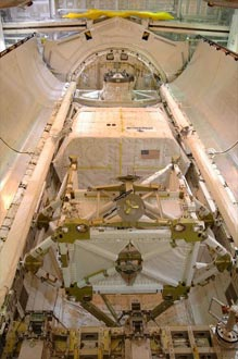 The SPACEHAB single logistics module, P5 truss and integrated cargo carrier inside Discovery's payload bay.