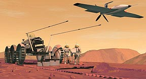 An artist's fictional conception of humans working on Mars
