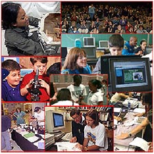 A collage of images of children and educators engaged in a variety of activities