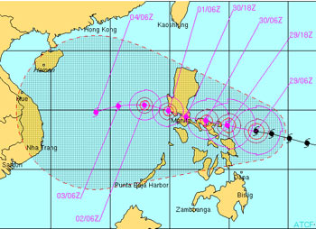 Possible track for Typhoon Durian