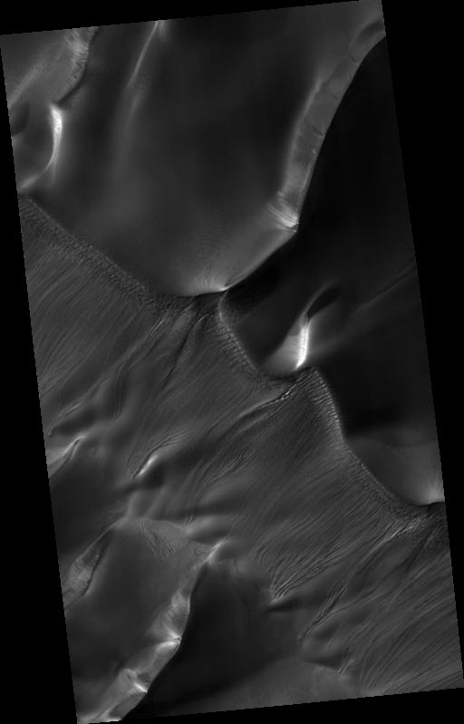 Troughs on dunes inside Russell Crater