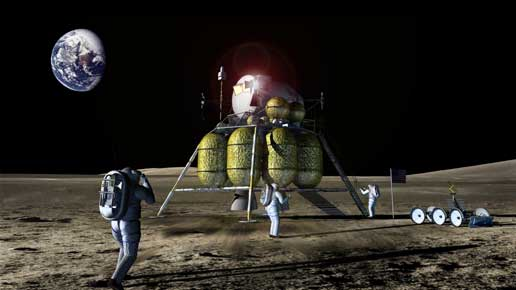 jsc2006e21839 -- A concept of a lunar lander, lunar rover and astronauts on the moon's surface