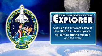 The STS-116 mission patch includes the names of the crew around artwork featuring the shuttle, U.S. and Swedish flags, space station, Big Dipper and Earth