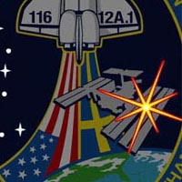 A close-up view of the Big Dipper constellation and the North Star on the STS-116 mission patch