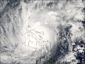 MODIS caught this image of Super Typhoon Durian over the Phillipines.