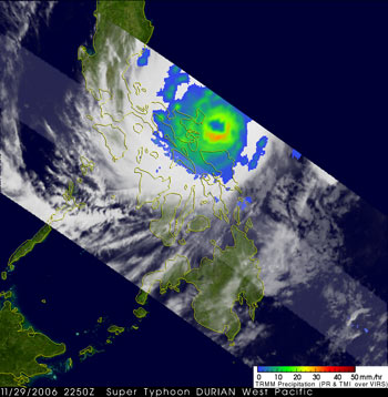 TRMM image of Super Typhoon Durian on November 29,2006.