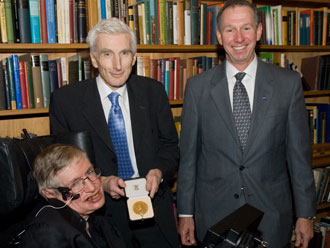 Professor Stephen Hawking, Martin Rees, President of the Royal Society, and NASA Administrator Michael Griffin
