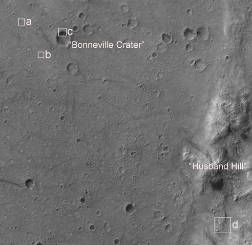 HiRISE image shows the landing site of the Mars Exploration Rover Spirit