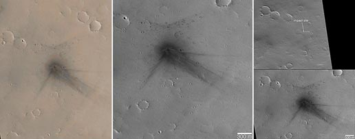 Before and after views of impact craters on Mars. Figure A and B were taken on March 13, 2006. In figure C the left image was taken on Feb. 24, 2002 and the right taken on March 13, 2006