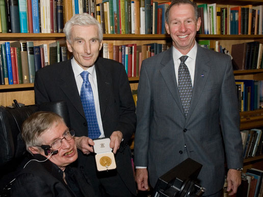 Professor Stephen Hawking, President of the Royal Society, Martin Rees, and NASA Administrator Michael Griffin
