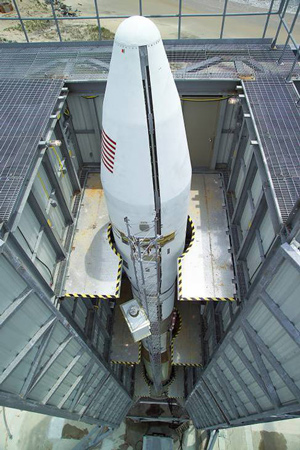image of TacSat-2 on the launch pad