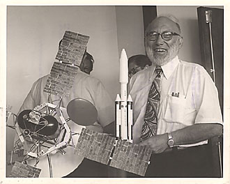 Undated photo of Dr. Joshua Lederberg at the Kennedy Space Center.