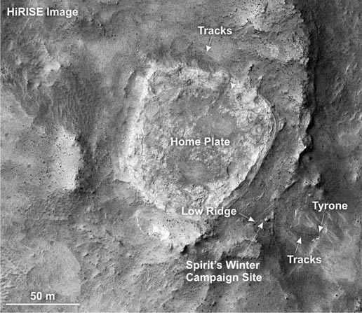 Portion of an image that shows the Spirit rover's winter campaign site.