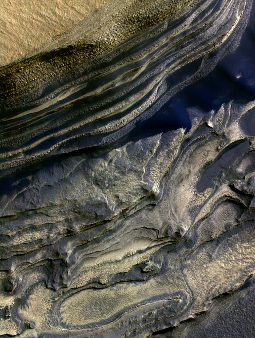 false-color subframe of the north polar layered deposits