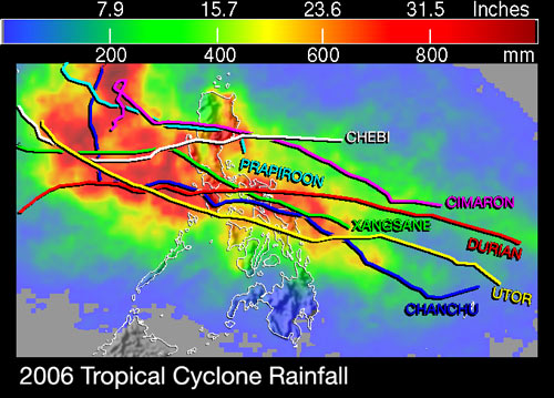 Rainfall totals resulting from tropical cyclones for the 2006 season are shown here for the Philippines and surrounding region.