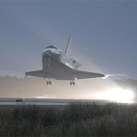 Discovery touches down at Kennedy Space Center.