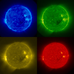 A mosaic of the extreme ultraviolet images from STEREO's SECCHI/Extreme Ultraviolet Imaging Telescope taken on Dec. 4, 2006.