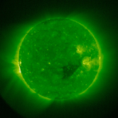 The sun in light emitted at 1.5 million degrees C taken on Dec, 4 by STEREO's SECCHI/EUVI telescope.