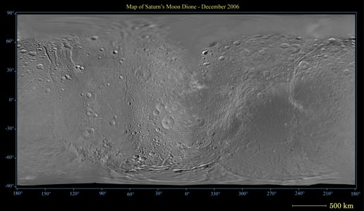 Map of Saturn's moon Dione