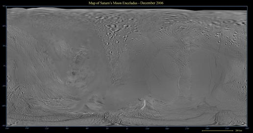 Map of Saturn's moon Enceladus
