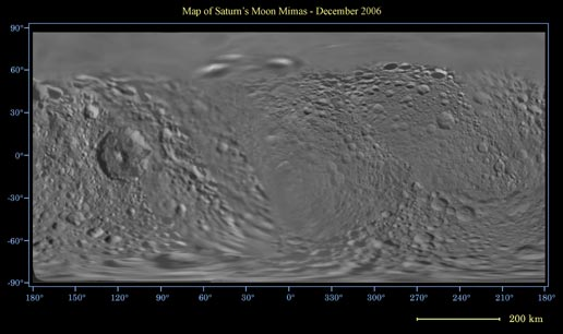 Map of Saturn's Moon Mimas