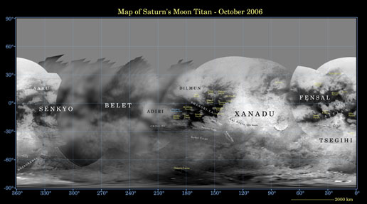 Map of Titan - December 2006 – with labels