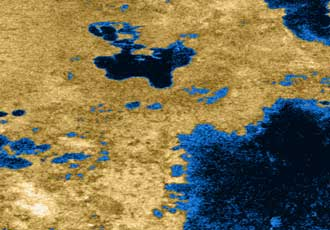 colorized radar view of lakes on Titan