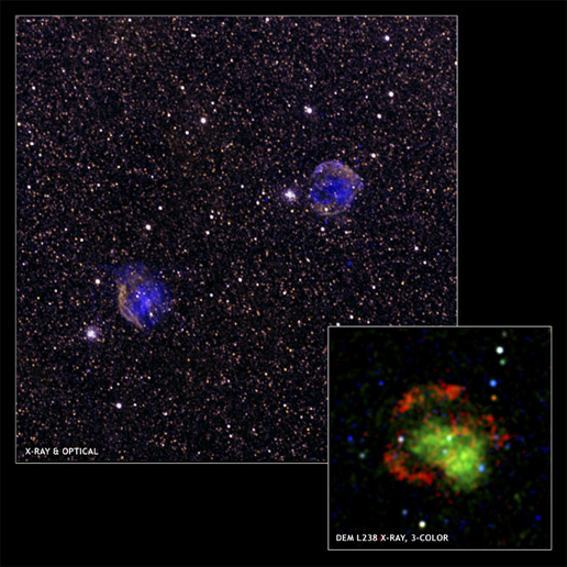 A composite image of supernova remnants DEM L238 and DEM L249, using data from Chandra and XMM-Newton X-ray observatories.