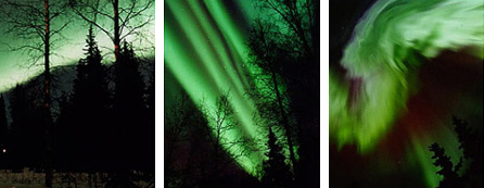 These are photos of the aurora before and during a substorm. The left image is the typical appearance of the aurora before a substorm. During a substorm, the single auroral ribbon may split into several ribbons (middle image) or even break into clusters that race north and south (right image).