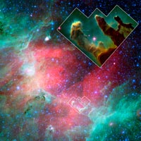 Eagle Nebula in infrared, inset shows nebula in visible light