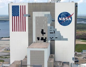 Damage to the Vehicle Assembly Building from the 2004 hurricanes.