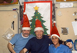 ISS014-E-10236 -- Expedition 14 crew poses for a holiday photo