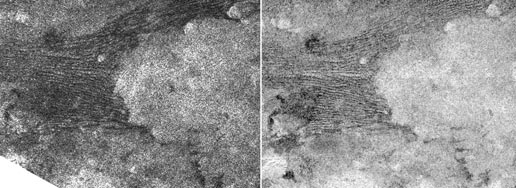 Pair of images taken by Cassini on two different Titan passes